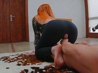 Ginger Redhead Teen Doing Yoga in Sports Bodysuit plus Gets Covered nearly Cum