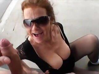 Older woman suck beamy dick outdoor and get facial