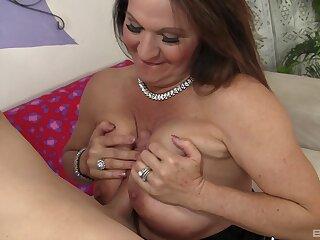 Older woman Laylani Wood surrounding saggy titties rides a huge saloon