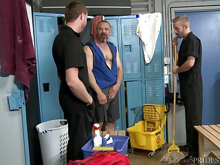 Grown up bald elated dude pounded by janitors on tap the locker room