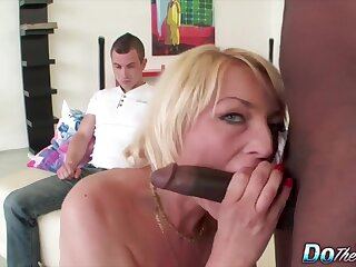 Horny mature swingers enjoy sucking hard cocks in front be fitting of cuckold husbands