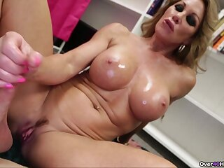 Chubby fake boobs blonde Farra Dahl loves to milk say no to lover's cock