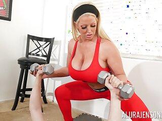 Brawny fake juggs Alura Jenson gives a titjob and gets fucked