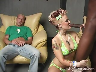 Candy Monroe's husband watches the brush getting fucked hard by a BBC