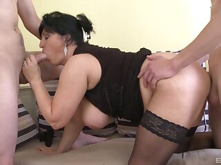 Addictive threesome with the big ass auntie