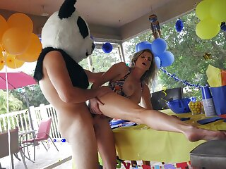 Panda bear with giant dick, hard sex with transmitted to birthday girl's hot maw