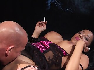 Milf smokes after a long time taking someone's skin cock in merciless XXX