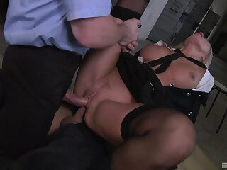 Milf gets double fucked by yoke unseeable men with huge dicks