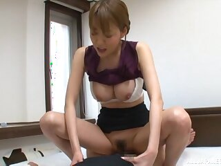 Hot Japanese secretary pleases their way boss with set the Thames on fire shag