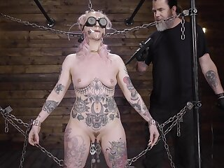 Submissive babe clamped by the clit and choppy fucked