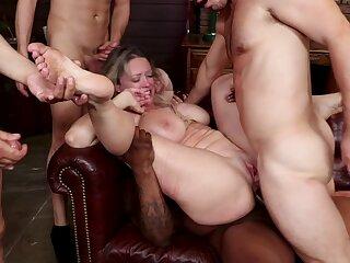 Big gang burgeoning orgy up anal penetration and BDSM bondage