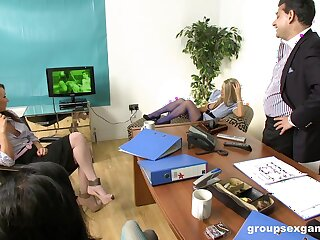 Boss fucks all duo of his secretaries in addition Stacey Lacey