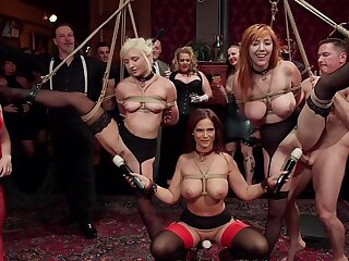 BDSM party all round rich folks and capacity for seating play sluts Lauren Phillips and Eliza Jane