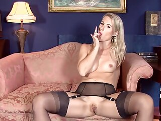Dressy daughter give erotic, sheer lingerie is slowly getting defoliated together with fingering will not hear of moist pussy