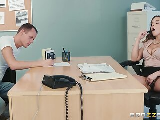 Sensual woman with big tits, naughty hard sex during job interview