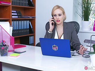 Office MILF is keen to smash the new guy's dick in will not hear of tiny holes