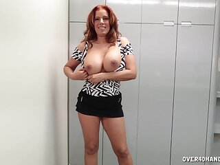 Gagged grown-up wants some fresh sperm on those freckled tits