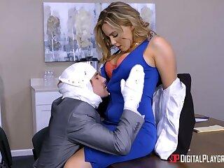 All office workers overhear on boss fucking sexy sob sister Natasha Nice