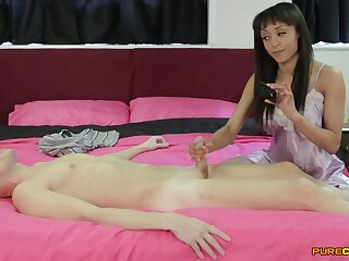 Aroused amateur gives the neighbor distance off stroke dimension posing clothed
