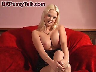 Blonde chick Kelly Hell-hound moans while masturbating on the couch