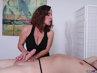 Mature jerks son's cock on touching CFNM style