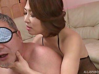 Foxy Japanese get hitched Shinobu Igarashi in fishnet pleasured a dick