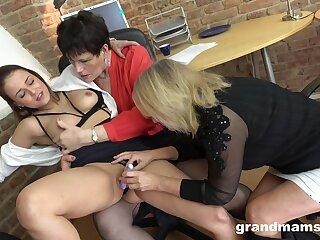 Lesbian Trio In The Boss Office