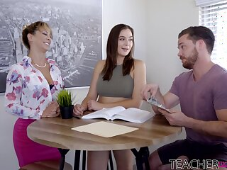 Mommy sucks dick side by side with the stepdaughter