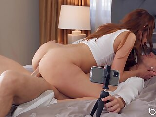 Redhead with great ass, superb bedroom romance on cam